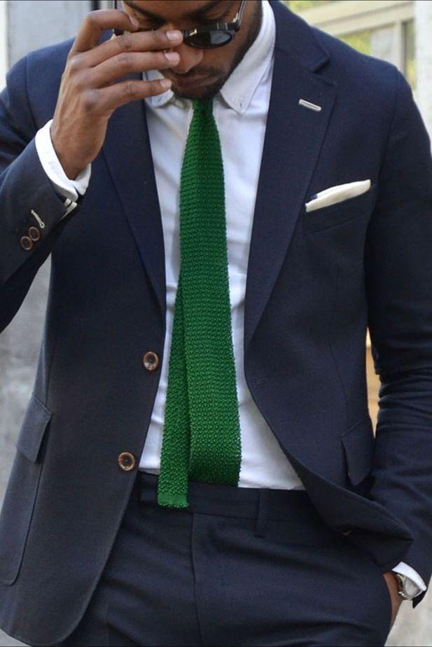green-tie-black-african-man