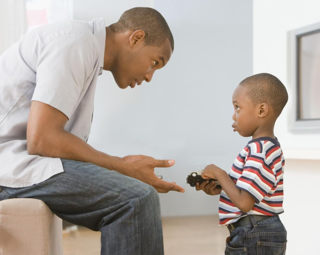 African Father Talks to 4 year old son