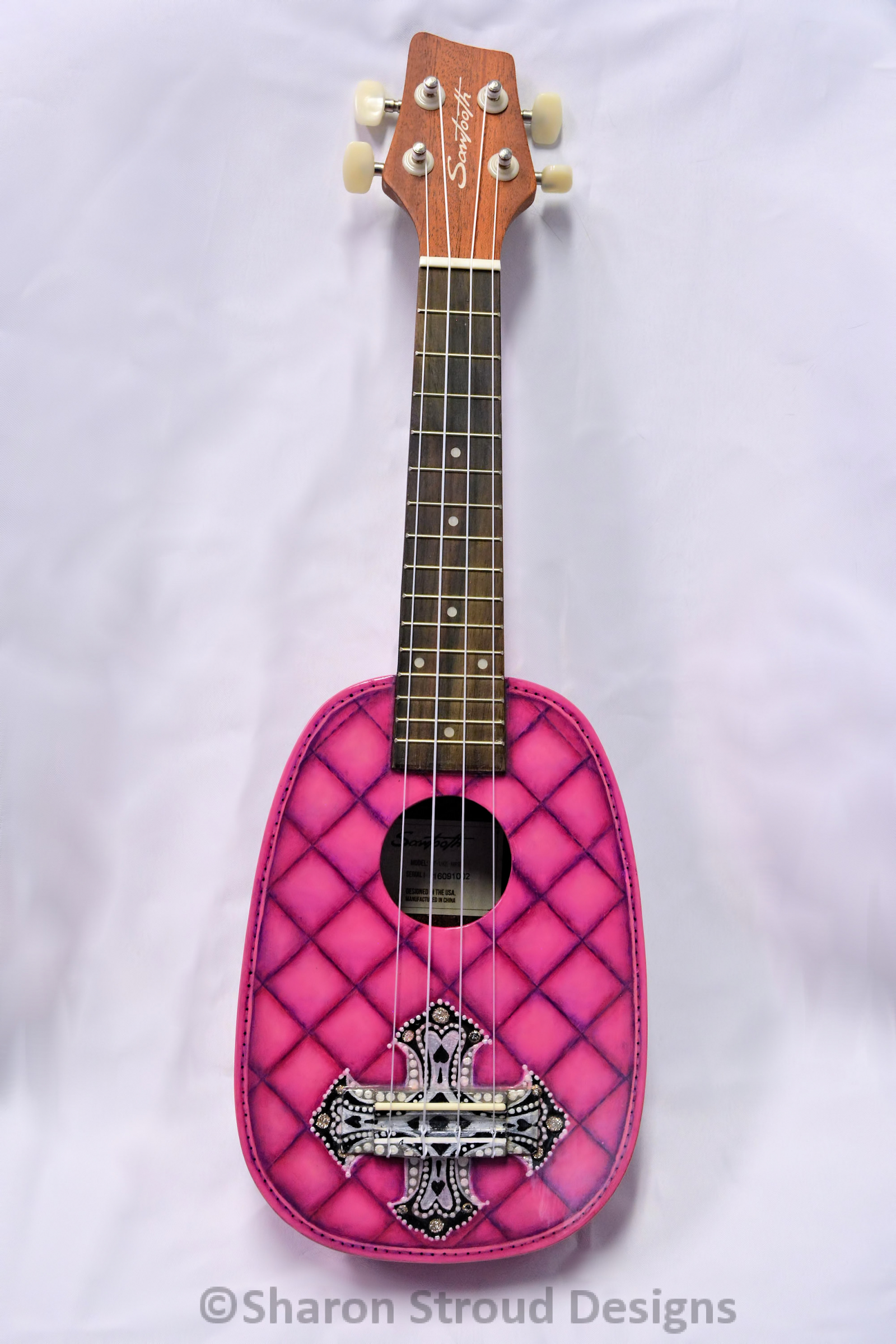 Pink Pineapple Purse Ukulele Custom Painted Soprano