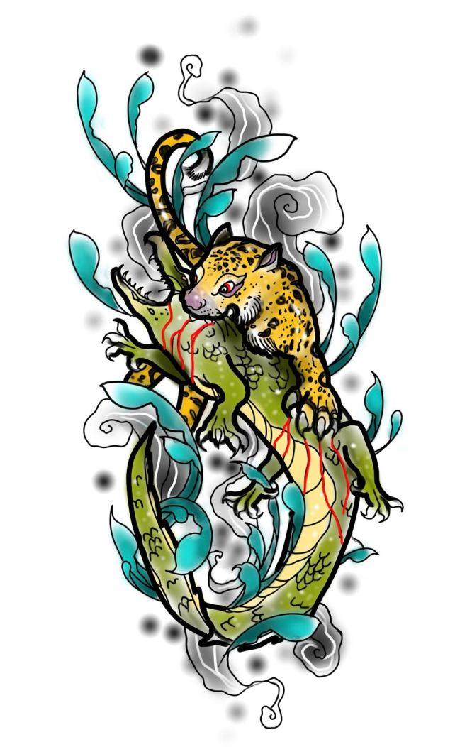 Tattoo flash of a leopard biting crocodile for Sharp Art Studios