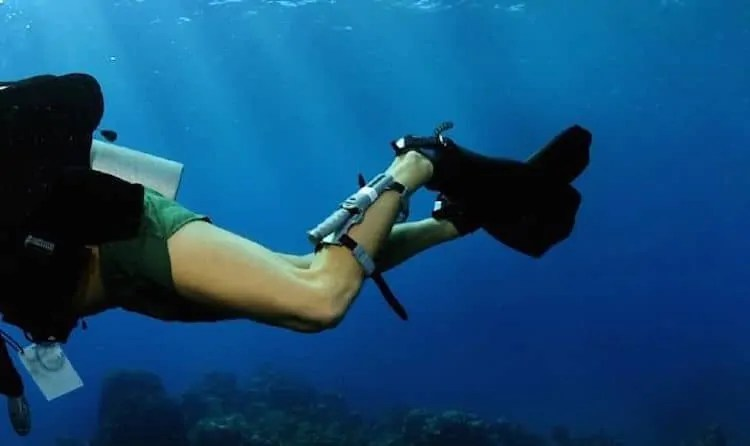 wearing a dive knife