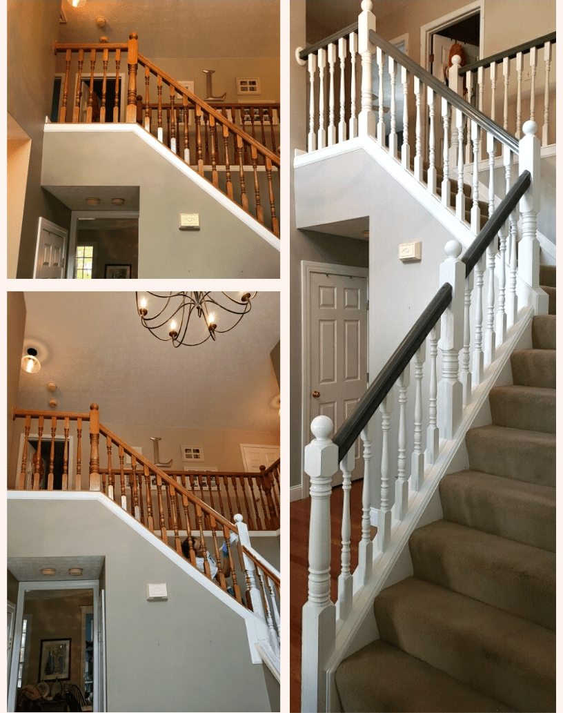 Wooden Banister Makeover Painted Stair Handrail Before After Photos | Two Tone Stair Railing | White | Indoor | Antique | Mansion | Country Style