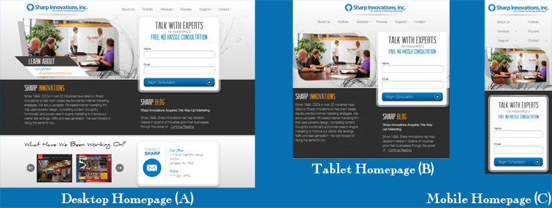What a mobile, tablet, and desktop user may see the Sharp responsive website as.