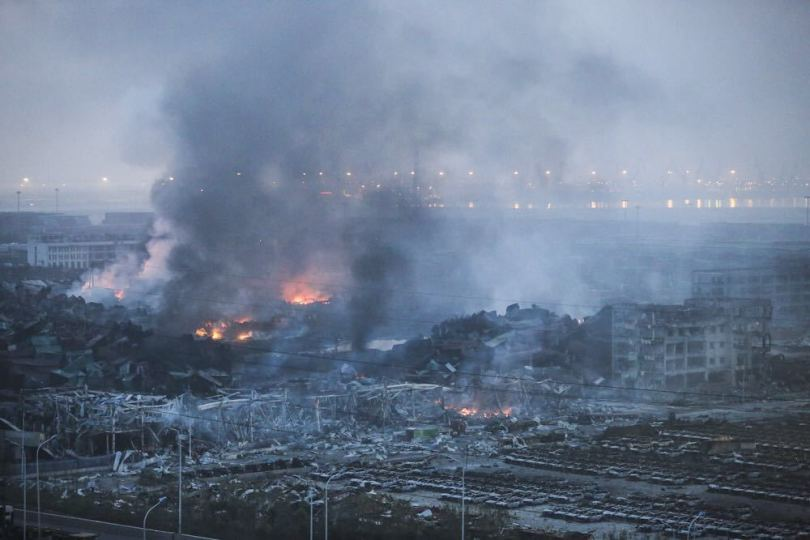 Tianjin Blast - Image Courtesy CCTV News on Twitter