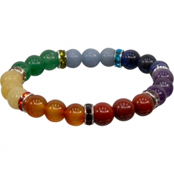 8mm Chakra Stretch Bracelet   Shasta Rainbow Angels