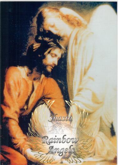 Jesus with Angel (JC4) Laminated 5x7 Art Print | Shasta Rainbow Angels