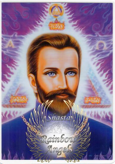 St. Germain (SG3) - 5x7 Laminated Altar Card   Shasta Rainbow Angels