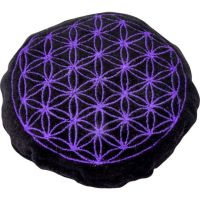 Black with Purple Flower of Life Crystal Cushion | Shasta Rainbow Angels