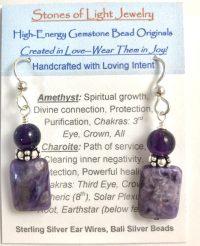 Amethyst & Charoite Sterling Silver Ear Wire Earrings