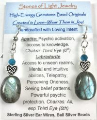Apatite & Labradorite Sterling Silver Ear Wire Earrings | Shasta Rainbow Angels