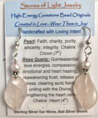 Rose Quartz & Pearl Sterling Silver Ear Wire Earrings | Shasta Rainbow Angels