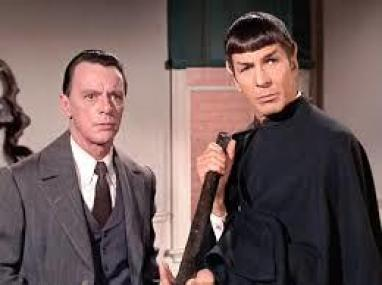 "Harry Townes and Leonard Nimoy in the Star Trek episode, ""The Return of the Archons."""