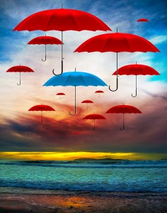 RED AND BLUE UMBRELLA DIGITAL ART PRINT BY SHAUN ALEXANDER