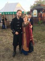 Lou and Kelley, medieval assassin and Viking woman in kaftan