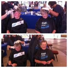 Ladies seen at Brightwater Commons supporting Shavathon! Many thanks