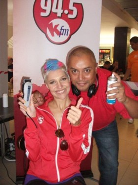 Shavathon Sanlam 2012 Liezel van der Westhuizen and Aden Thomas of kfm 94.5 supporting CANSA's Shavathon at Sanlam HO