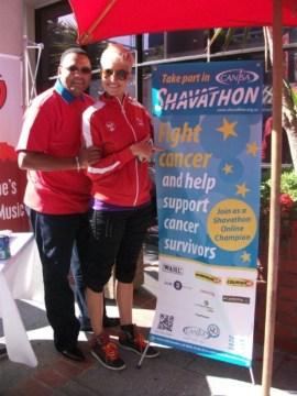 Shavathon Sanlam 2012 Theo Esau and Liezel van der Westhuizen of kfm 94.5 supporting CANSA's Shavathon at Sanlam HO