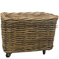 Rectangular Log Basket with Wheels (Large)