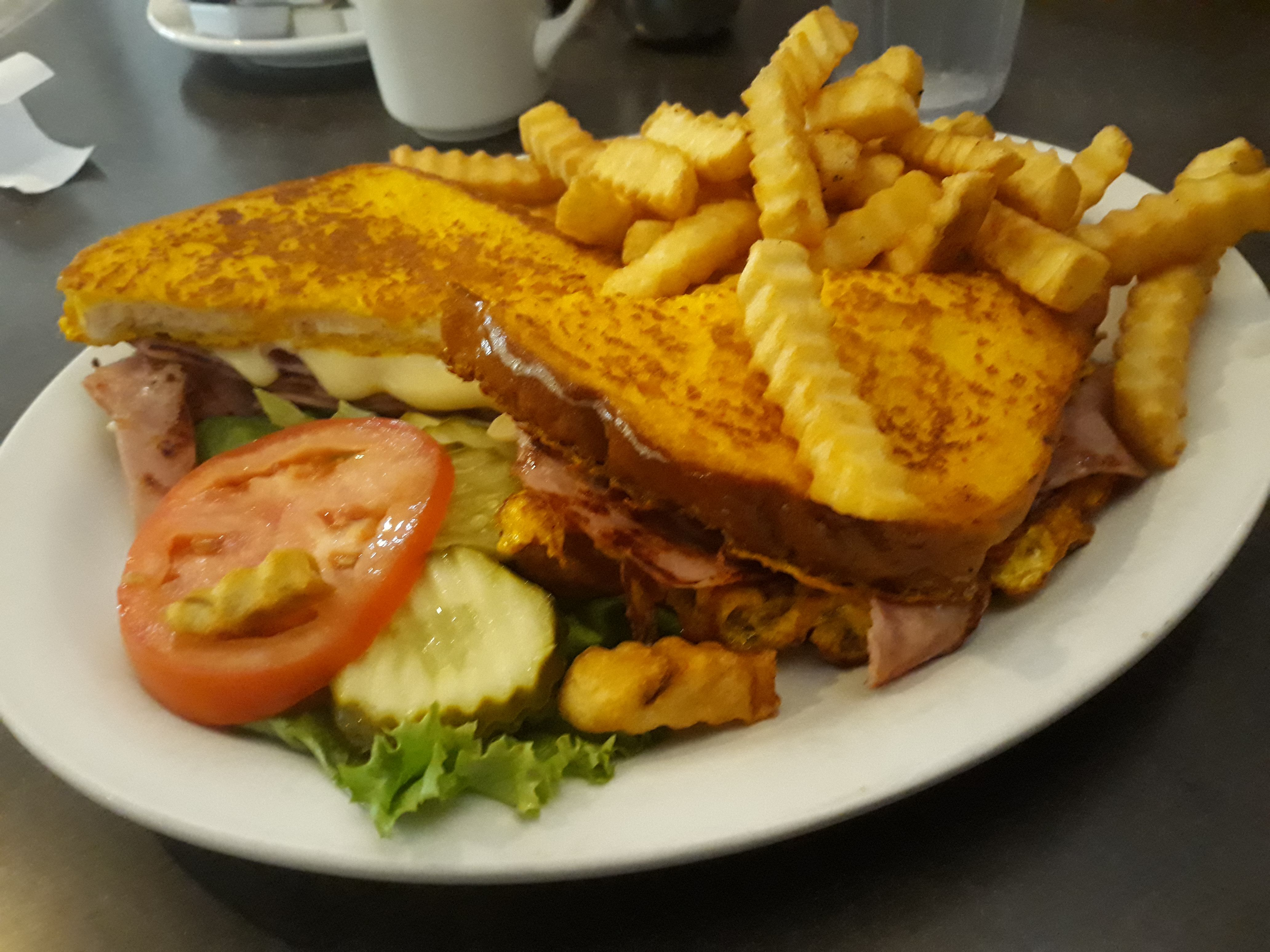 The Monte Carlo at the HiWay Restaurant in Ottawa features grilled ham and Swiss cheese between two pieces of French toast. Served hot, this sandwich melted in my mouth.