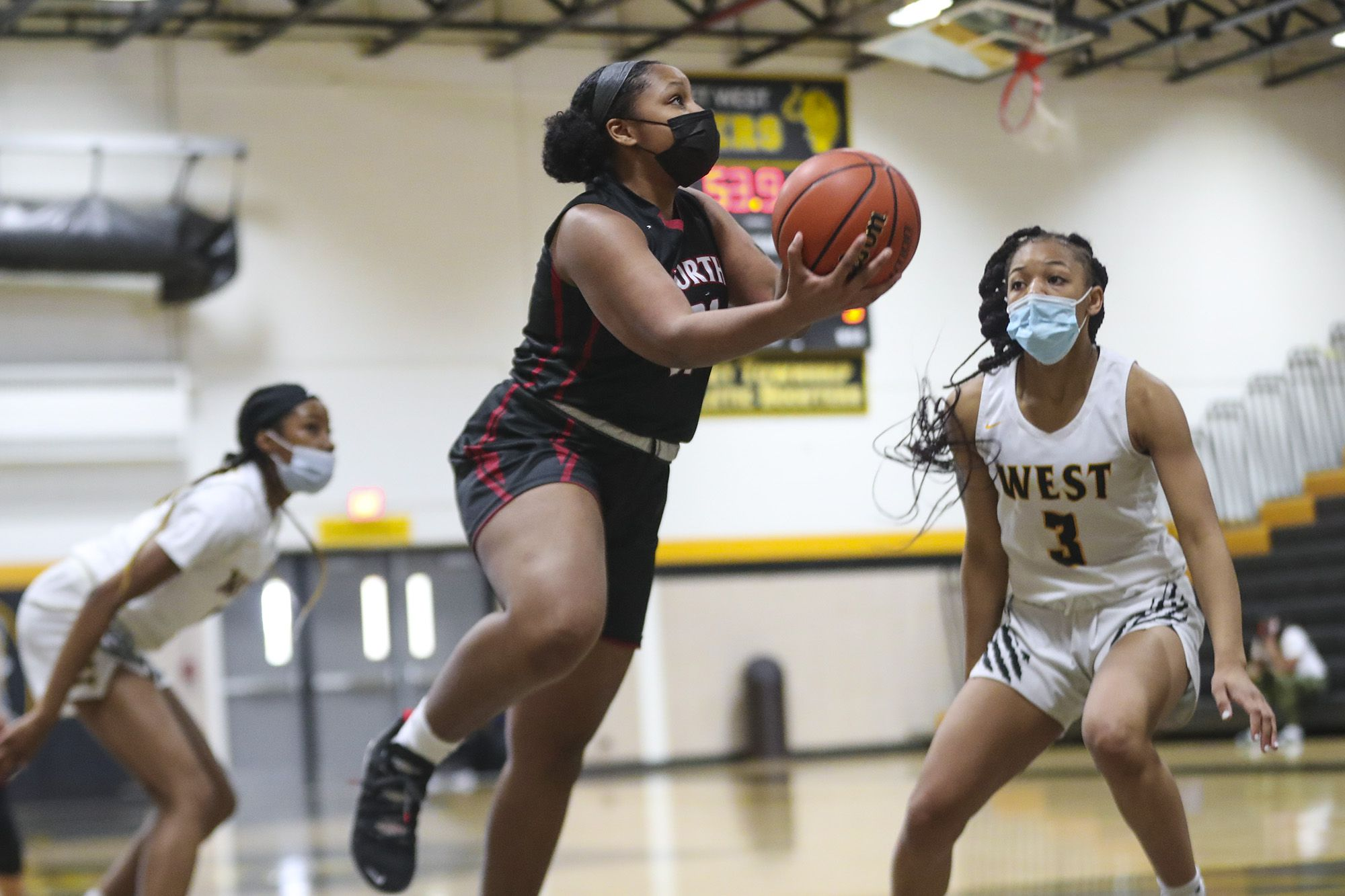 Plainfield North's Yasmine Bryant makes a layup on Saturday, March 13, 2021, at Joliet West High School in Joliet, Ill.