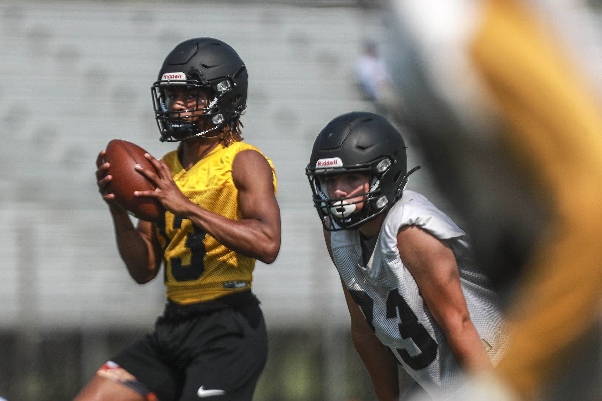 Joliet West quarterback Skylar Crudup drops back after receiving the snap on Wednesday, July 14, 2021, at Lincoln-Way Central High School in New Lenox, Ill.