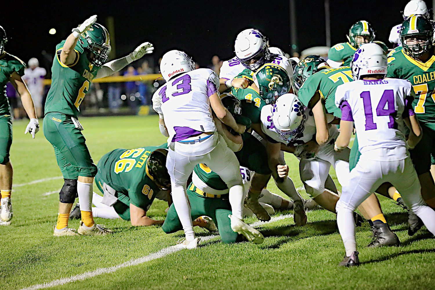 Coal City's Ashton Harvey (44) scores the Coalers' lone touchdown Friday night in a 10-7 loss to Wilmington.