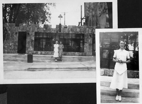 Evelyn Nieman, inset, ready to scoop up a treat at DeKalb's Prince Castle, background. The business stood on the east side of First Street, between Lincoln Highway and Locust Street. The photos are approximately dated 1939. Thanks to Nieman's family for the photos.