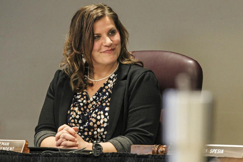 Joliet District 204 Superintendent Karla Guseman can be seen Tuesday, Feb. 11, 2020, during a Joliet District 204 Board of Education meeting in Joliet, Ill.
