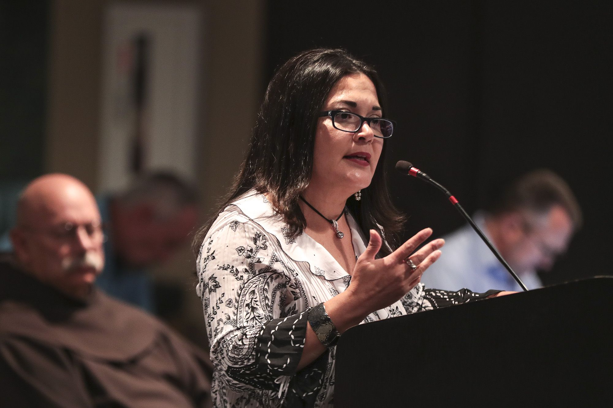 Joliet Township Clerk Alicia Morales speaks during public comment on Tuesday, Aug. 17, 2021, at Joliet City Hall in Joliet, Ill.