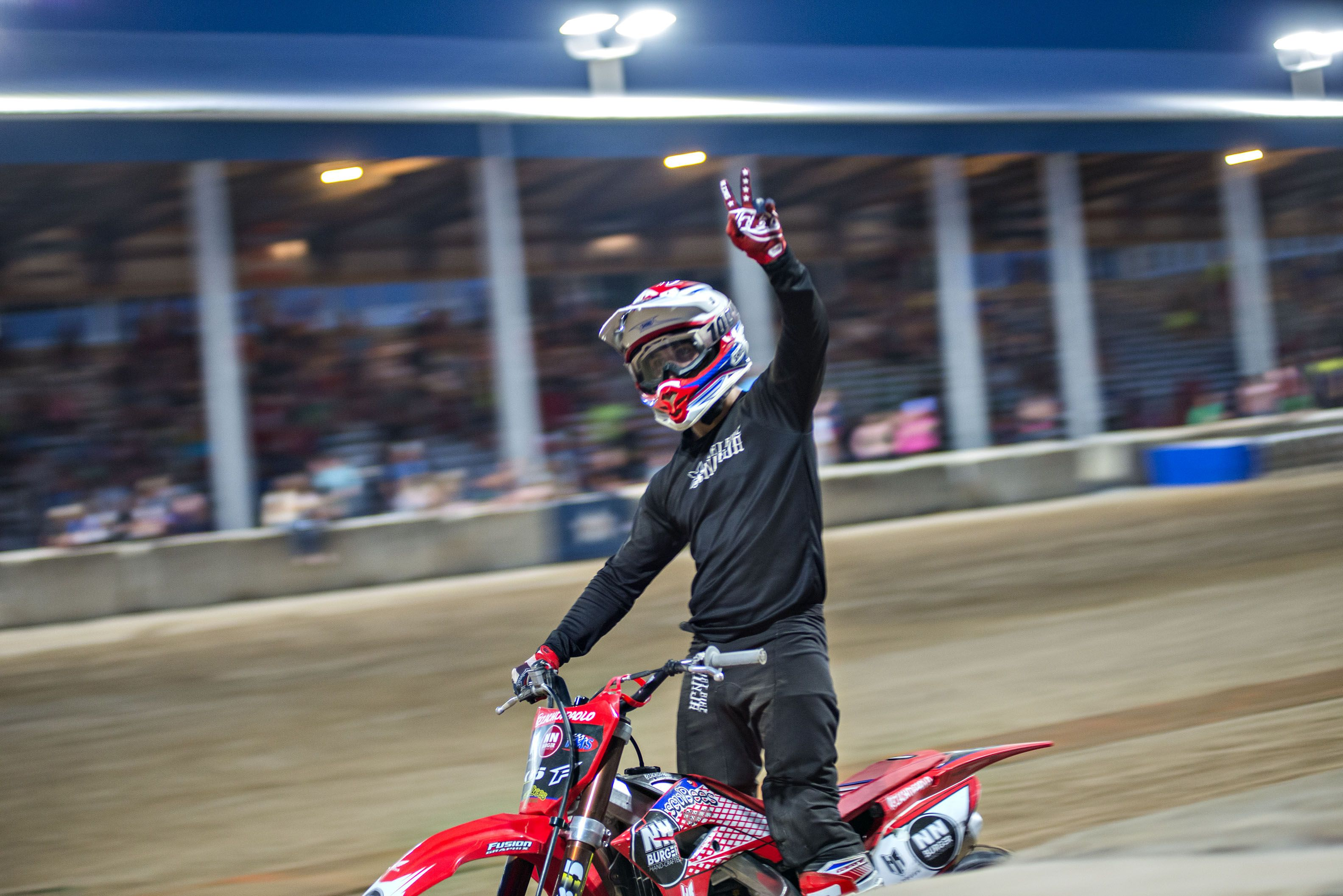 Zach DiPaolo waves to the fans Thursday night. The fans were encouraged to make as much noise to add to the excitement.