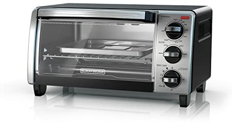 BLACK+DECKER 4-Slice Toaster Oven with Natural Convection, Black, TO1750SB