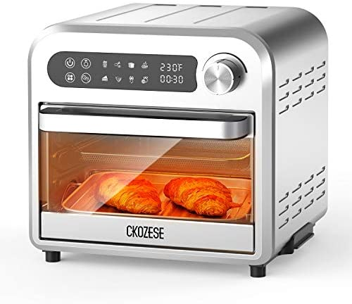 8-In-1 Small Stainless Steel Digital Air Fryer Toaster Oven, Dehydrator/Bake/Broil/Roast Function, 1250W&60 Min Timer, 11QT Compact Countertop Convection Oven with Touch Panel, 4 Accessories &Recipe