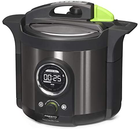 Presto 02142 Precise 6-Quart Multi-use Programmable Plus Electric Pressure Cooker, 6qt, Black Stainless Steel