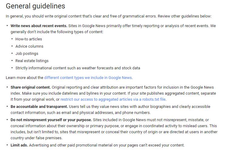 Google General Guidlines