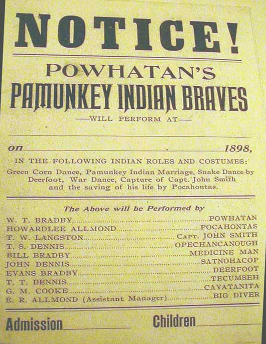 "1898 playbill for traveling show by ""Powhatan's Pamunkey Indian Braves"""