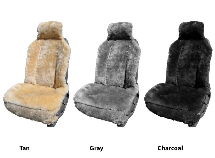 chair covers office seats how to repair a lawn car genuine sheepskin universal seat three installed tan gray and charcoal
