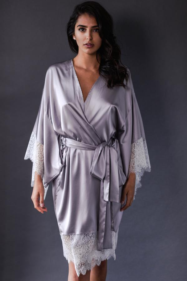 ELEANOR LILAC SILK KIMONO dress