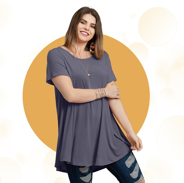 Short Sleeves Flare Tunic Tops