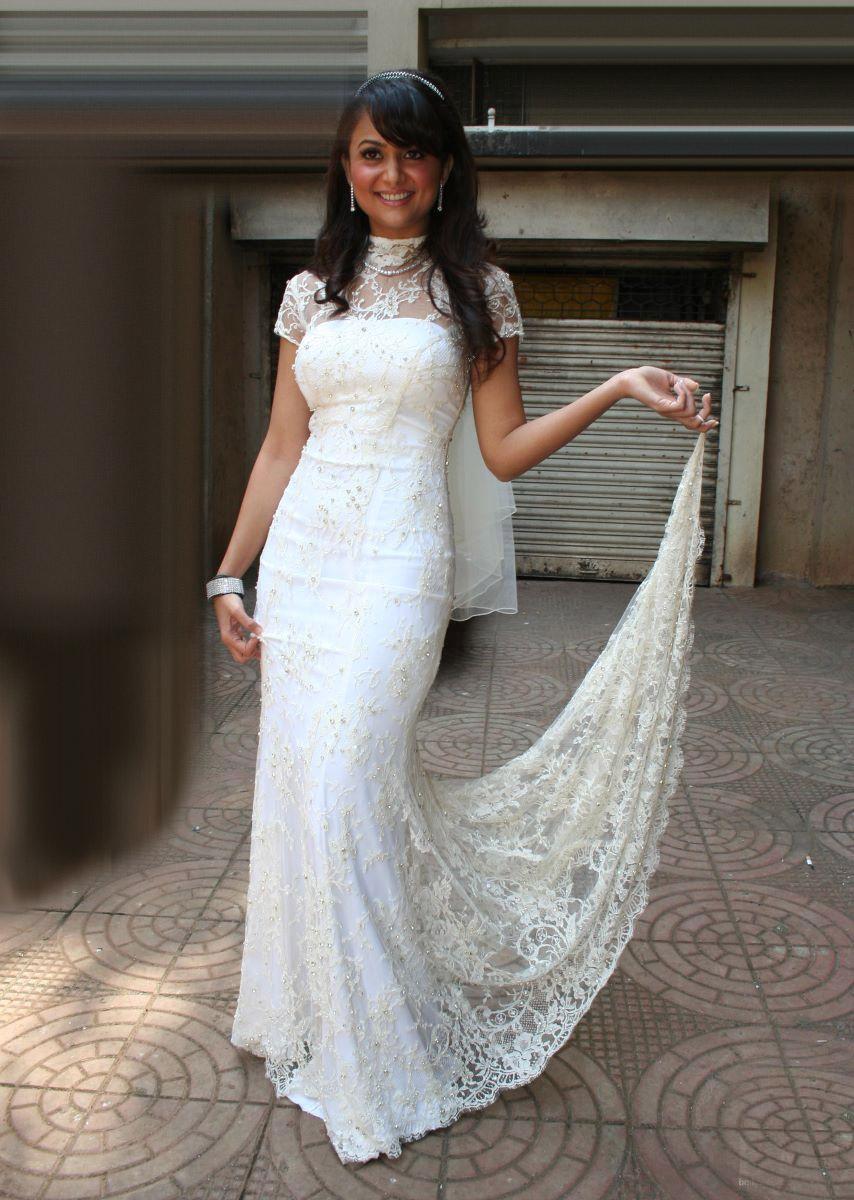 Amrita Arora White Bridal Style Lehenga Dress  SheClickcom