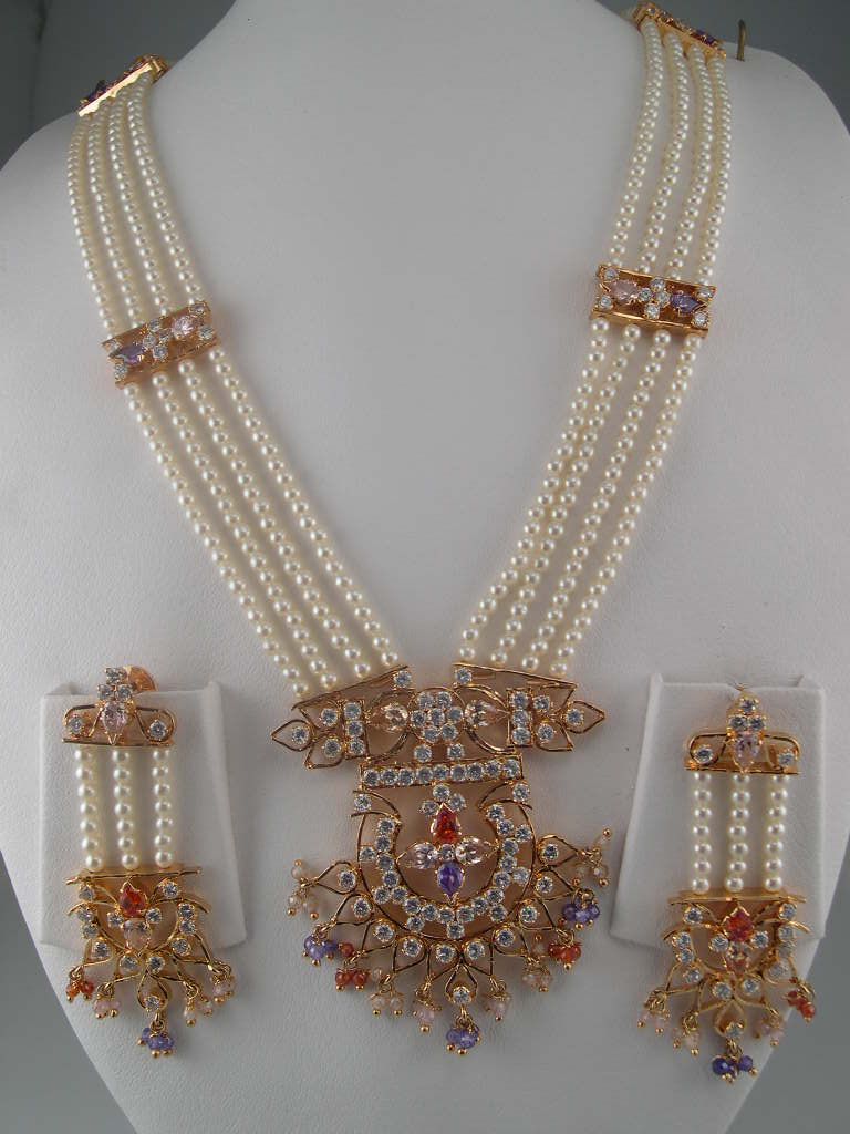 Indian Jewelry Made with Pearl and White Gemstones  SheClickcom