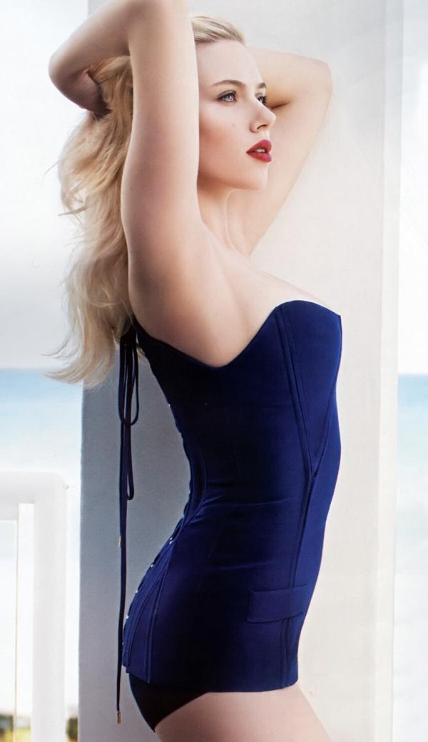 Scarlett Johansson Blue Prom Dress  SheClickcom