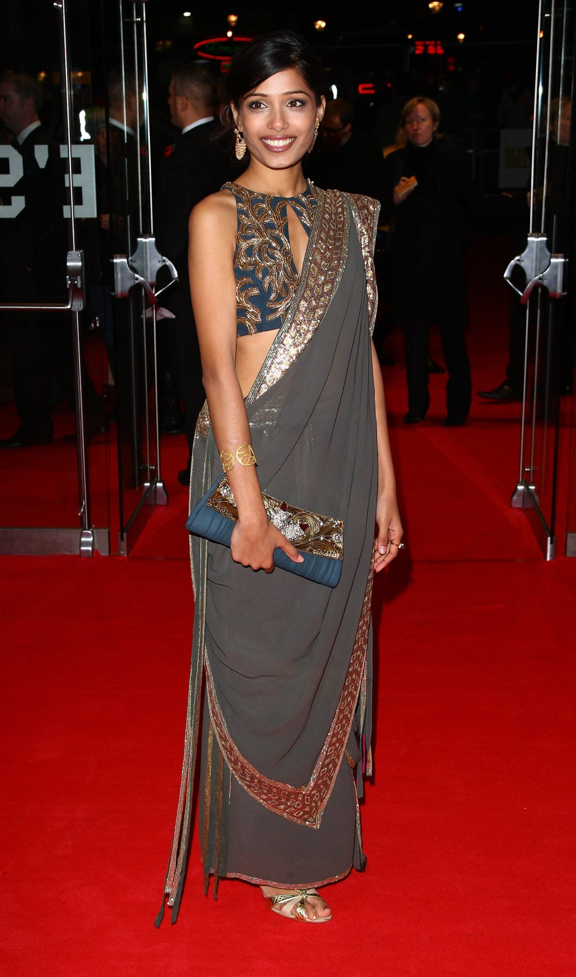 Freida Pinto in Saree  SheClickcom