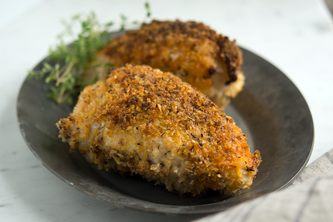 Oven-fried picnic chicken on plate