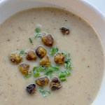 Photo of Roasted Cauliflower Soup overhead in bowl