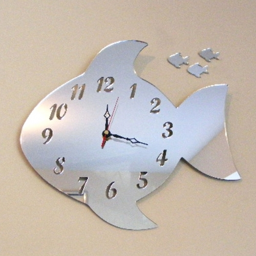 Fish Clock Mirror 35cm Personalised Gifts For