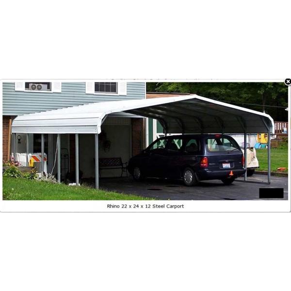 Rhino Shelter 22W X 24L X 12H Two Car Steel Carport Kit