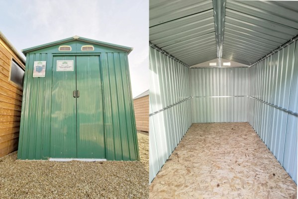 two photos side by side, the one of the left is a low, wide angled view of the 6x9 steel shed. It's a shiny, dark green and the vents and sliding doors are visible. The doors are closed and the sky is beautiful above it. The photo on the right is an internal view of the shed. It's all grey, save for the floor which is a meshed looking plywood.