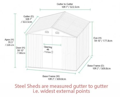 10ft x 10ft Shed Dimensions