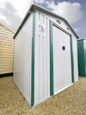 A wide angles view of the 8ft x 6ft Steel Shed in White in the Finglas showroom