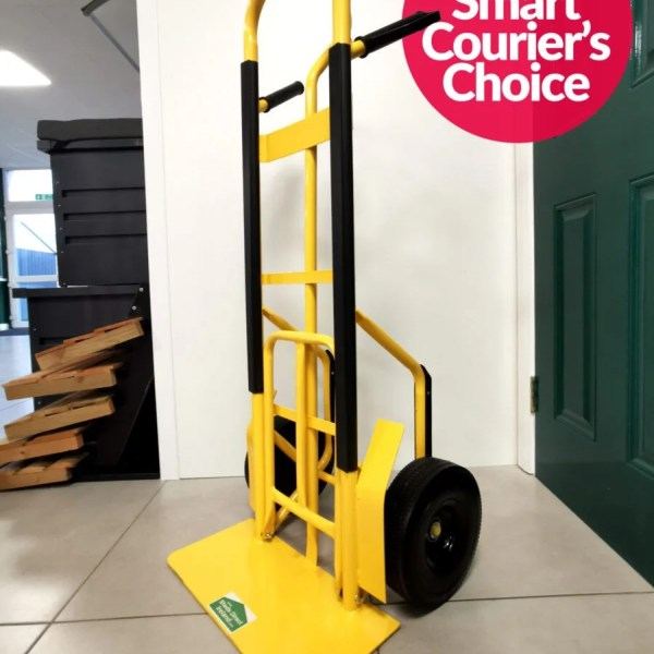 The Industrial Hand truck with extendable footplate in yellow. It supports 300kg